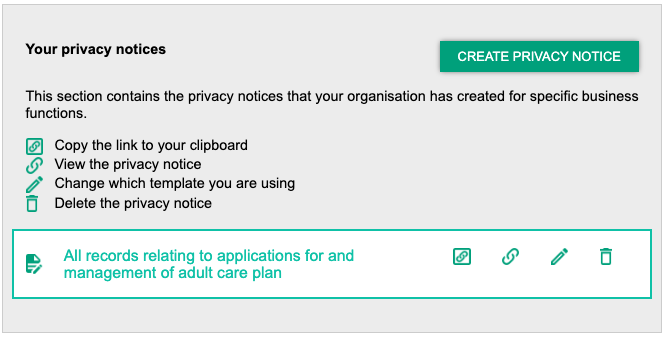 Screenshot highlighting the create privacy notice function