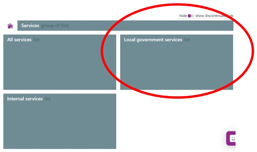 Screenshot of the Local Government services list area.