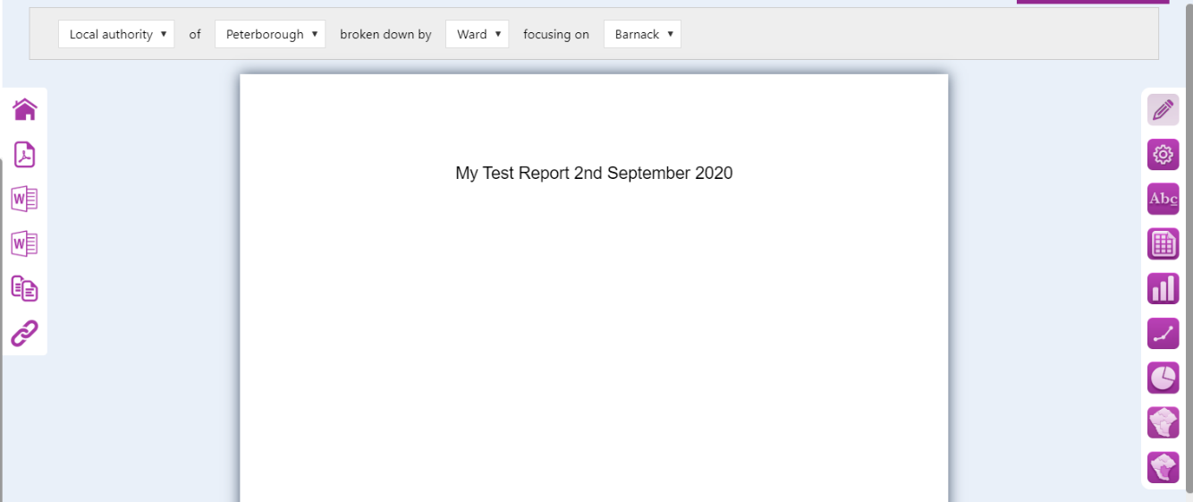 Screenshot of the report 'canvas'. Created when a report has been saved with title