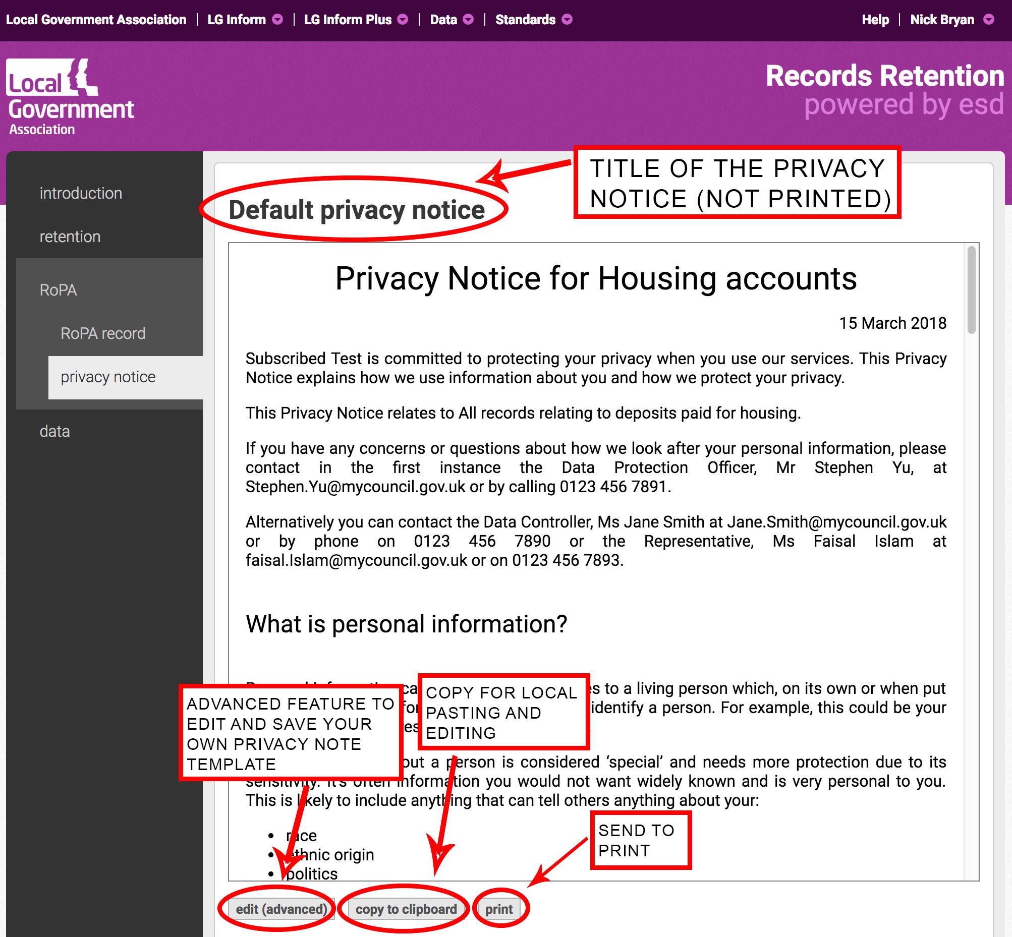 Adding a privacy notice
