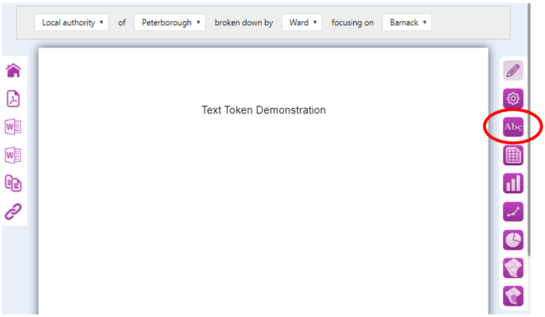 Screenshot of the 'Empty/open' blank report - and the 'Abc' icon used to open the required Text Editor
