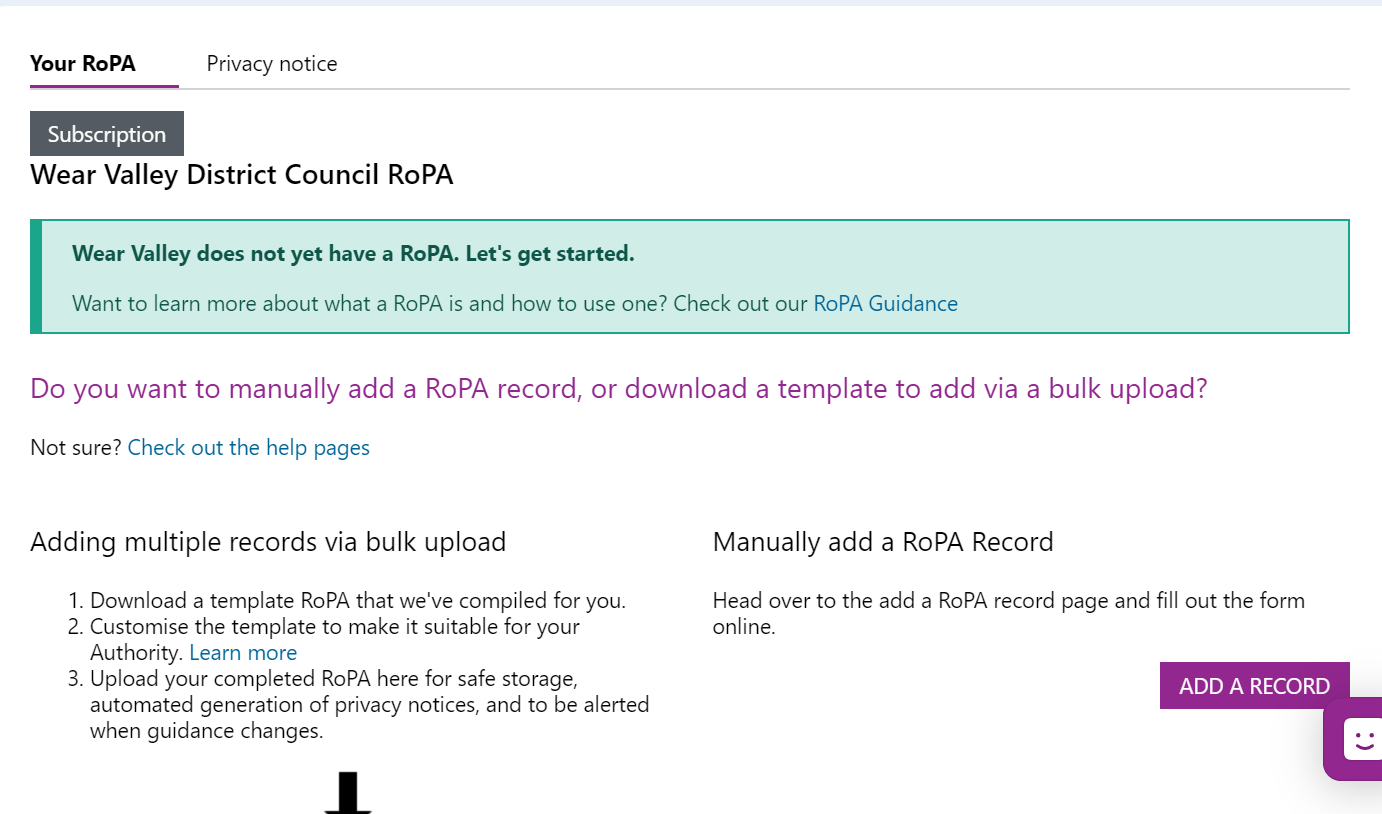 Screenshot of the RoPA starting page and instructions.