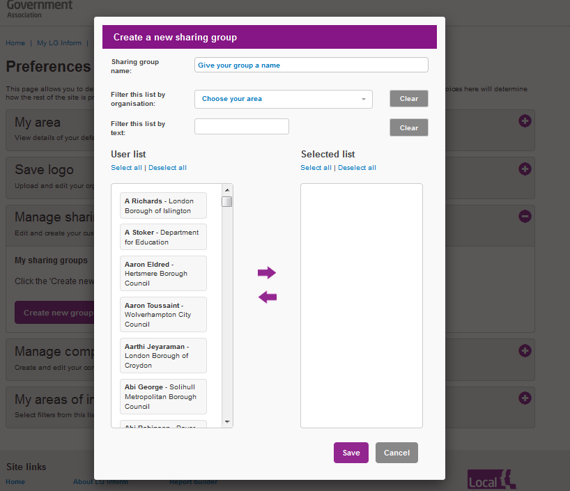 Screenshot showing the Preferences 'Create or Manage Sharing Groups' dialogue box