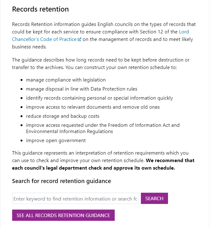 Screenshot of the Records Retention schedule landing/Home page