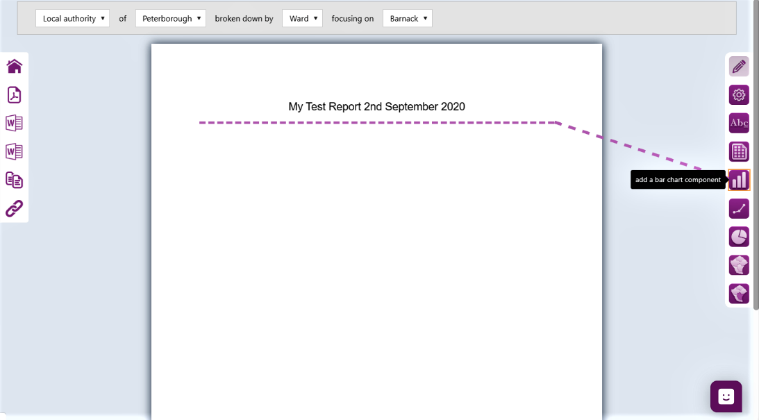 Screenshot of the line showing component positioning on the report canvass