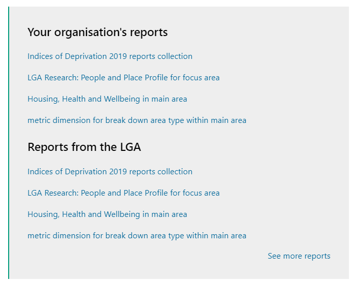 Screenshot of where 'Your Organisations' Reports and 'Reports from the LGA' are located on the Hub page.