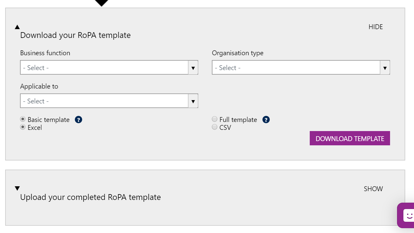 Screenshot of the RoPA Filters to be used to create and then download a template