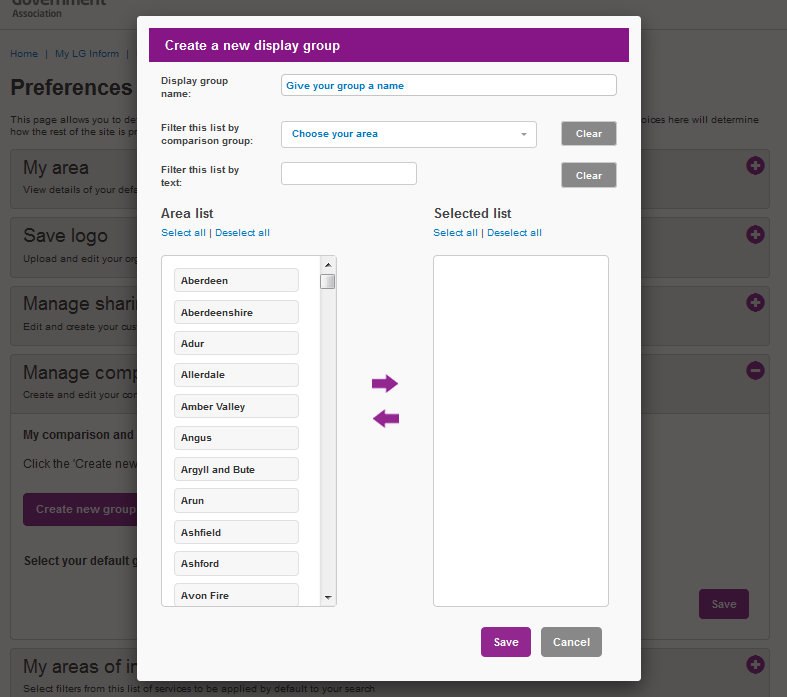 Screenshot showing the Preferences 'Manage Comparison and Display Groups' dialogue box