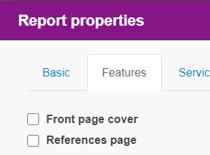 Screenshot Report Properties - Feature tab for adding 'Front cover page' and 'References' page.
