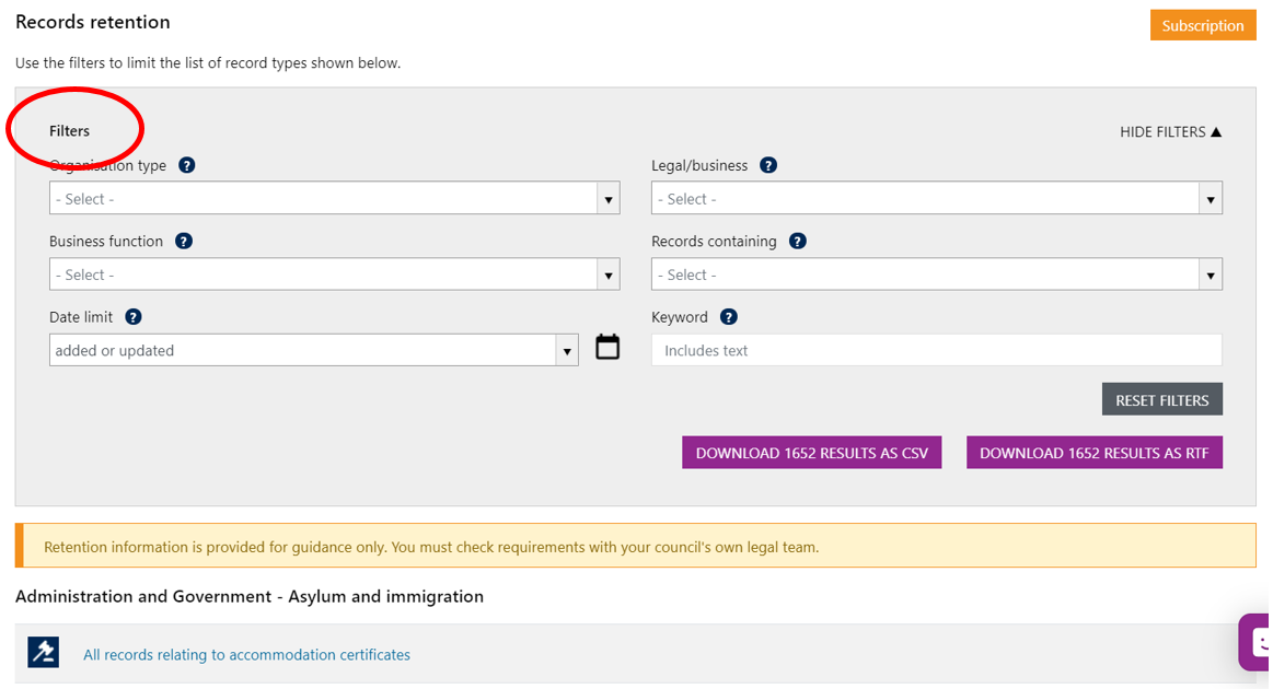 Screenshot of the Records Retention filters showing which aspects users can filter to data to obtain results e.g. by organisation type such as local authority