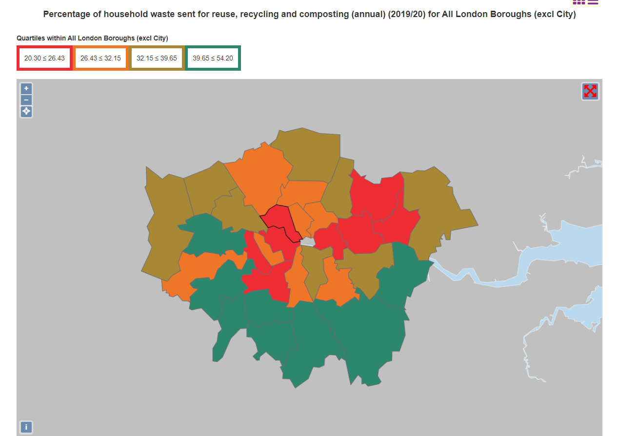 Screenshot of the example map: Greater London