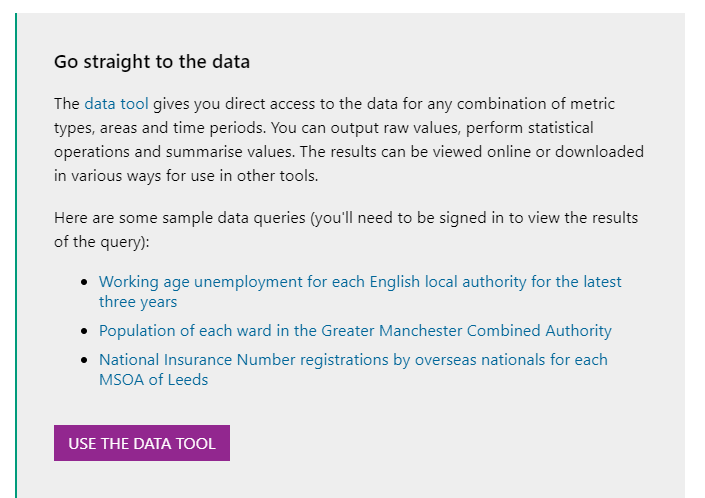 Screenshot of the link to the data tool: 'Go straight to the data' and 'Use the Data tool' button.
