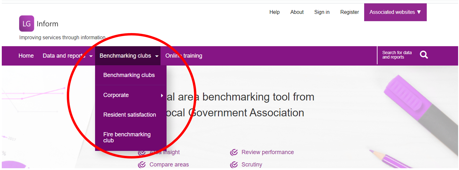 Screenshot of items contained within the Benchmarking Club tab