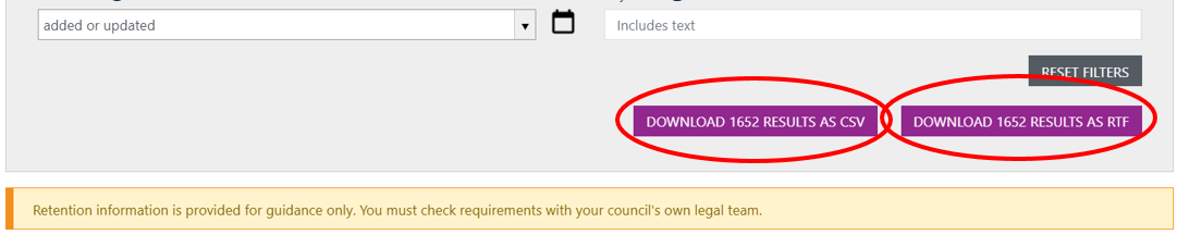 Screenshot highlighting the two download options for your filtered list: csv or rtf.
