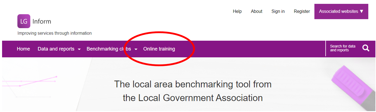 Screenshot highlighting the online training tab