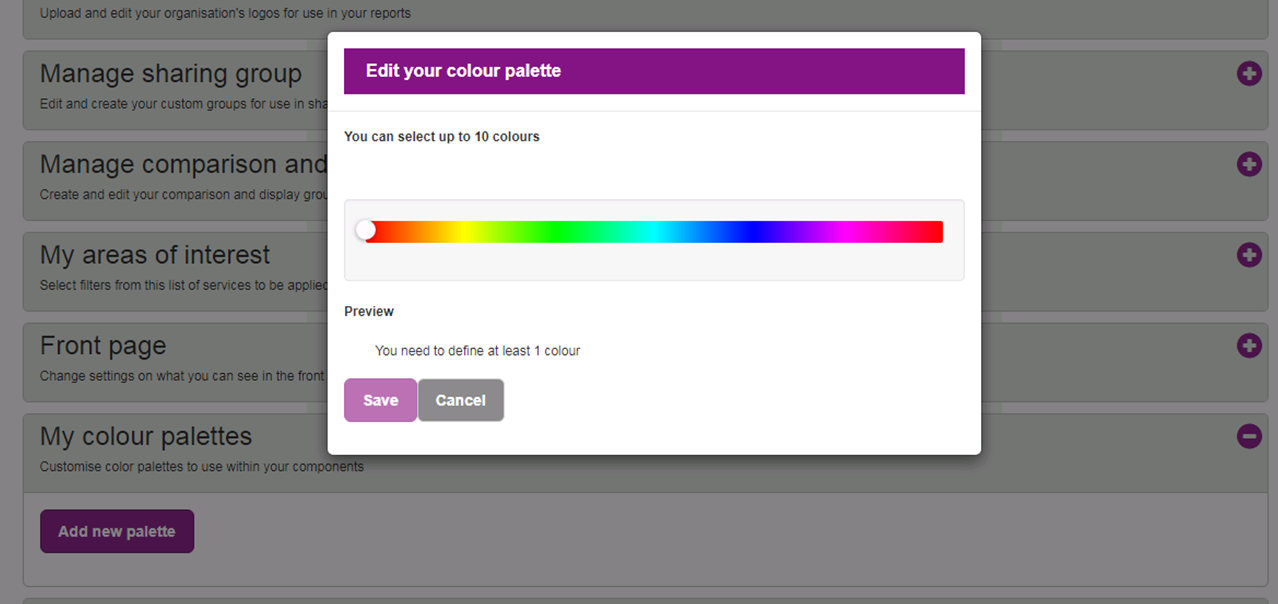 Screenshot showing Preferences 'My Colour Palette' dialogue box.