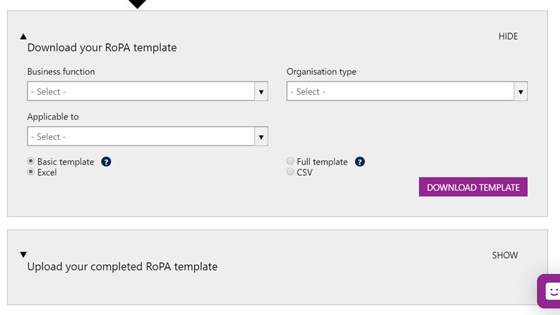 Screenshot showing where to upload a populated RoPA template