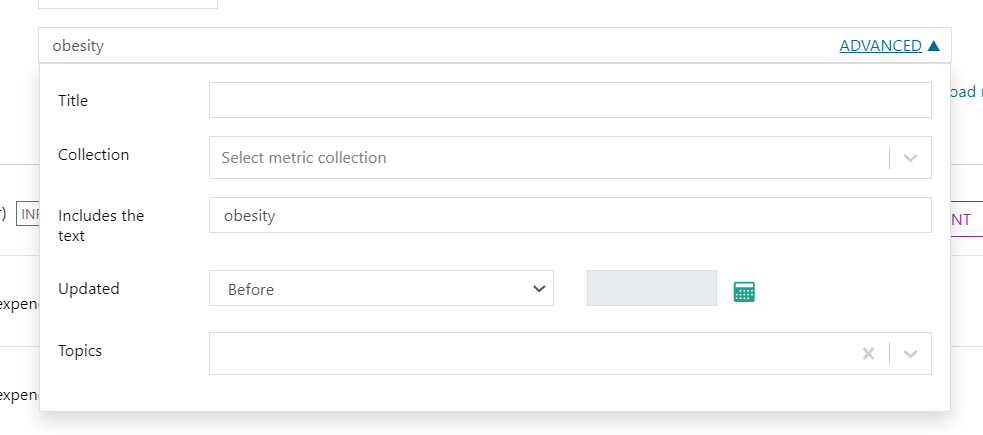 Screenshot of the ADVANCED features expanded to reveal further options to refine your search.