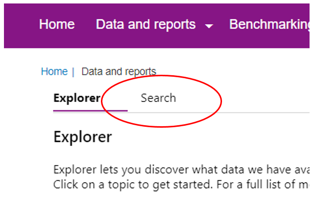 Screenshot showing Search tab selection.