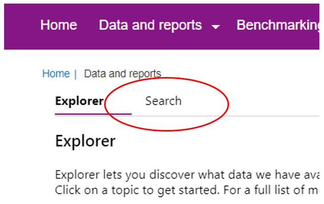 Screenshot showing Search tab selection.