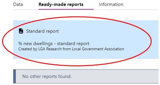 Screenshot showing list of standard and other reports that will open up in LG Inform