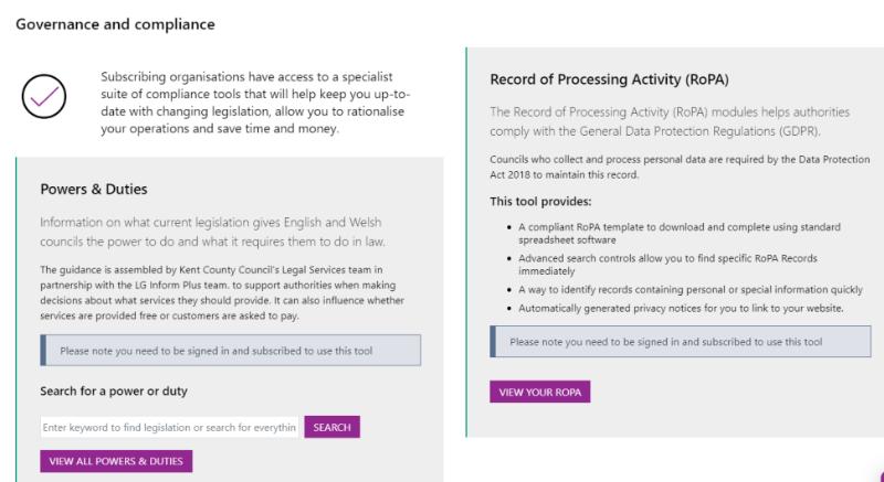 Screenshot of compliance section of LGIP