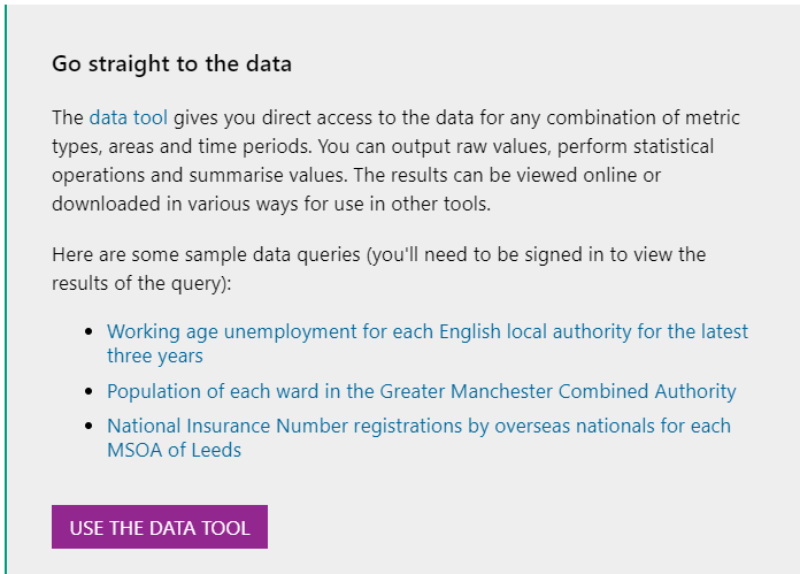 Screenshot of reports hub page on LGIP